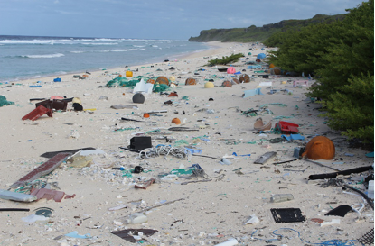 photo of beach littered with plastic